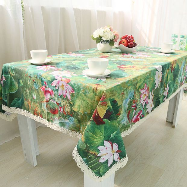 Lotus Cotton Table Cloth Chinese Style Vintage Flower Rectangle Table Cover Green Tablecloth with Lace Edge GQ30