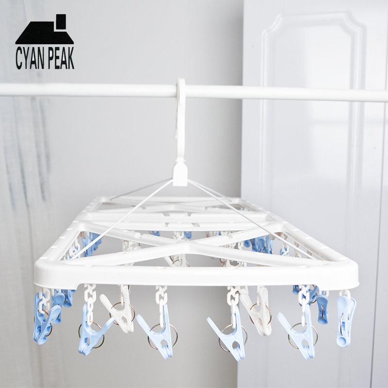 50Pins Sock Underwear Clothes Hanger Clip Outdoor Dryer Laundry Hanger PP Big Clothes Multifunction Drying Rack Home Accessories
