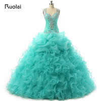 Real Made Princess Ball Gown Prom Dress 2019 Turquoise Quinceanera Dresses Tulle Tiered Vestido de 15 anos Sweet 16 Dress QD04
