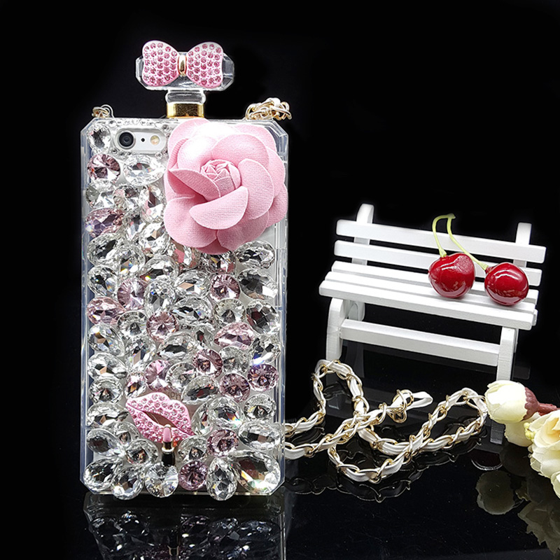 For iPhone 7 case Perfume Bottle Flower Rhinestone Phone Case Bling Gliter cover for iPhone 5s SE 6 7 Plus 6s Plus Case