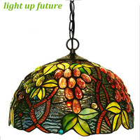 Handmade Grapes Glass Tiffany Led E27 Pendant Light For Living Room Dining Room Vintage Tiffany LED