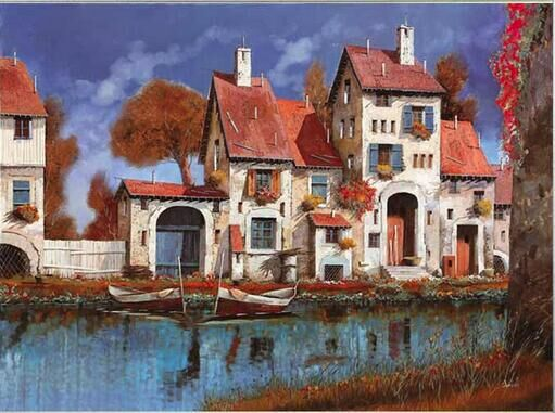 Discreet 55-43-needlework Craft Home Decor French Dmc Quality Counted Cross Stitch Kit Set Diy Oil Painting 14ct Unprinted La Cascina Rich In Poetic And Pictorial Splendor Home & Garden