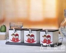 three-piece bone china Chinese wedding ceramic spice jar salt and pepper seasoning bottle set herb&spice tools kitchen supplies