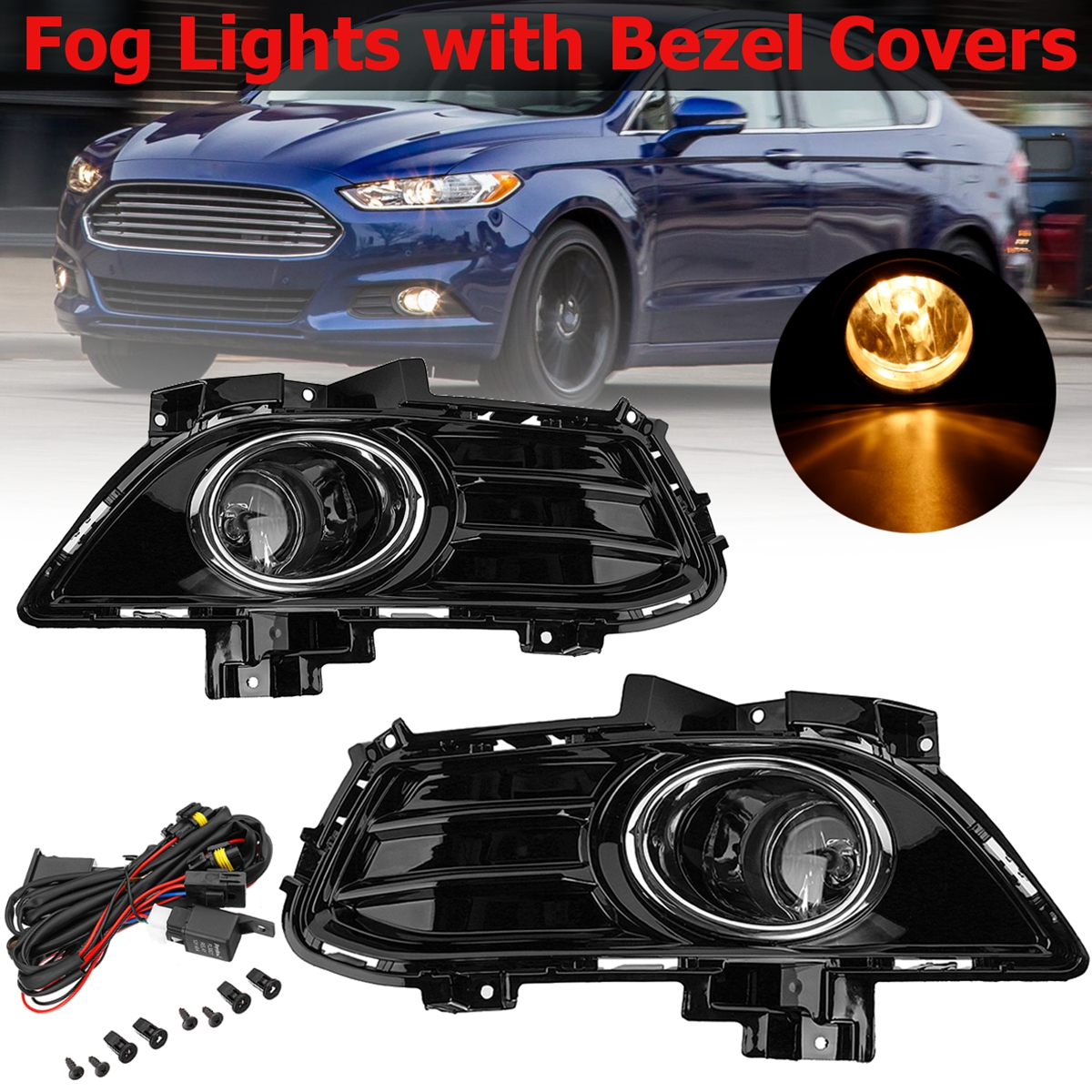 Complete Set Front Fog Lights Fog lamp Kit with Bezel Covers and Wiring For Ford for Fusion for Mondeo 2013 2014 2015 2016Complete Set Front Fog Lights Fog lamp Kit with Bezel Covers and Wiring For Ford for Fusion for Mondeo 2013 2014 2015 2016