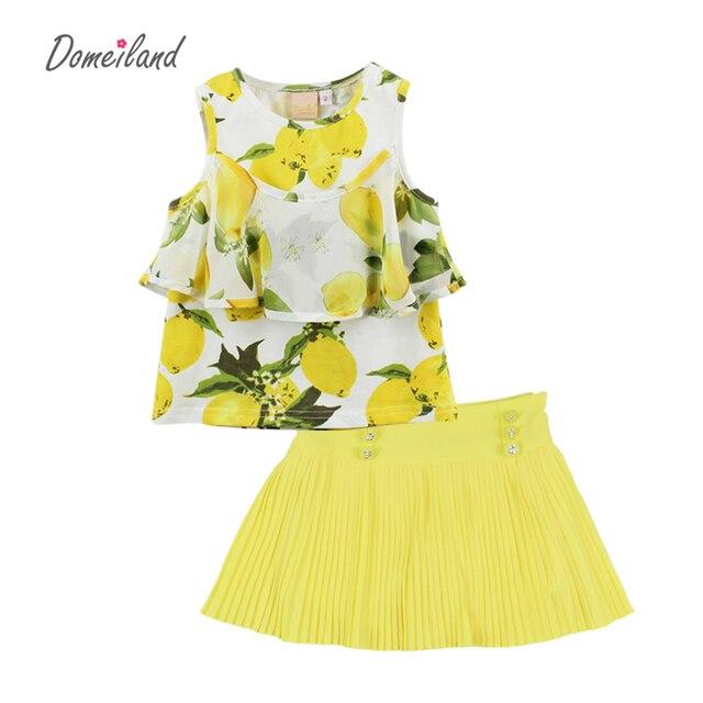 2017 fashion brand summer children clothing sets kid girl outfits sleeveless cotton lemon ruffle blouse tutu skirt suits clothes