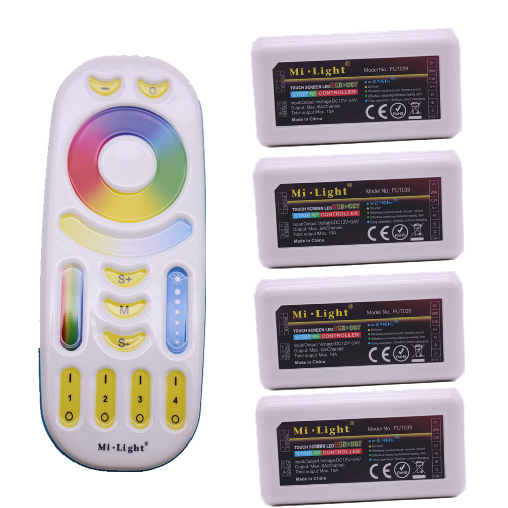 MiLight RGB CCT (RGB+Cool White+Warm White) Controller DC12-24V 2Ax5CH FUT039 + 2.4G RF Wireless RGB+CCT 4-Zone Touch Remote