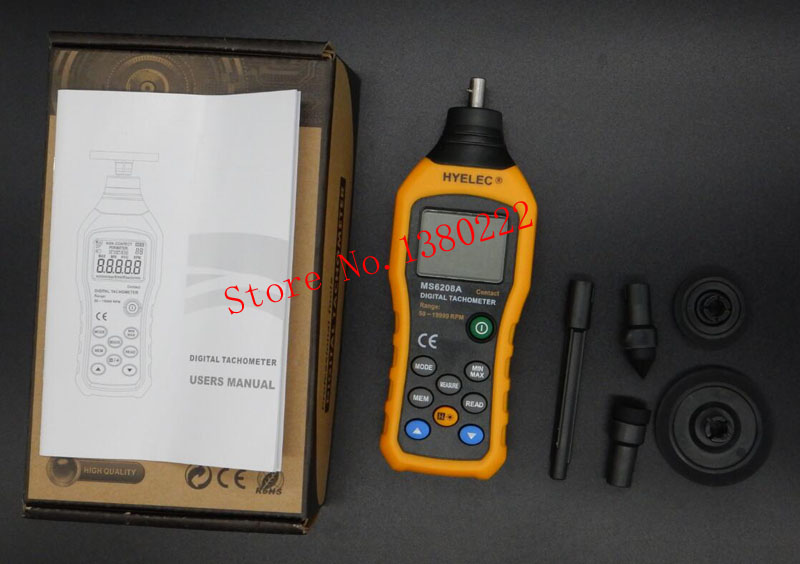ФОТО Free shipping HYELEC MS6208A contact digital tachometer multi-functional measure High Performance 50-19999RPM max