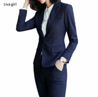 New fashion pants suits set women Business slim plaid long sleeve blazer with pants office ladies plus size Interview work wear