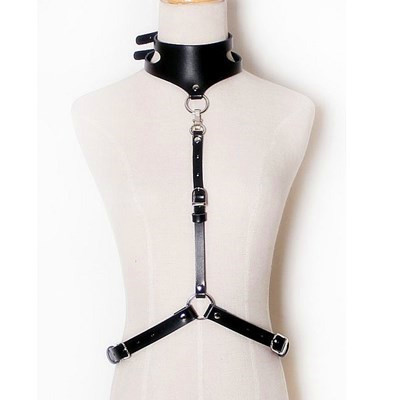 LIGA ARREIO de COLEIRA, minimal & destacável ajustável arnês de corpo sexy com tiras de couro elegante prender na cintura & em torno do pescoço