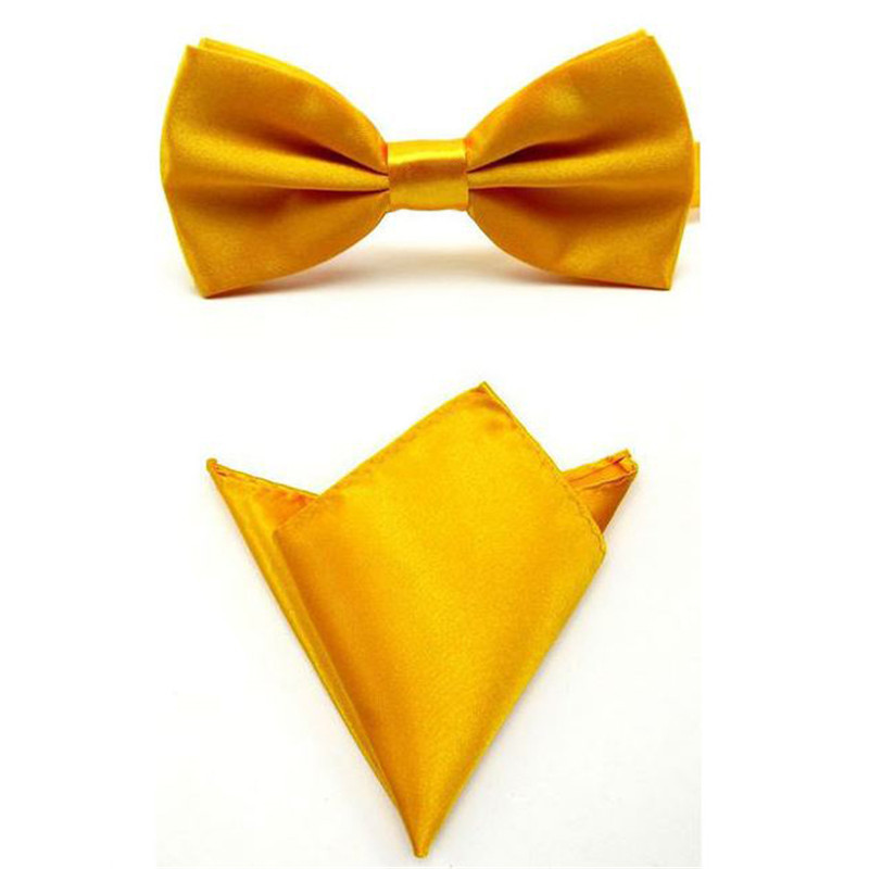 Tie Set Bow Ties For Men Pocket Square Towel Mariage Yellow Gold Polyester Butterfly Handkerchief