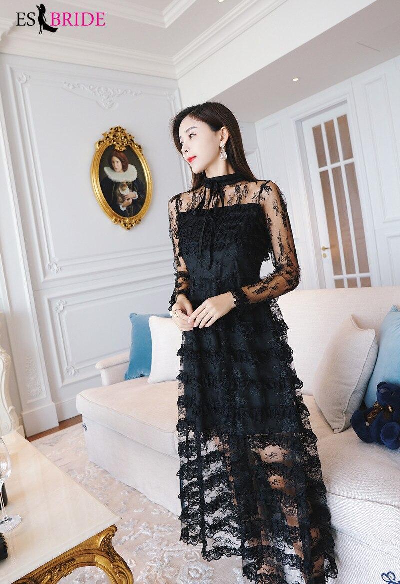 Décontracté Simple robes De soirée longue noir pile-up gâteau Robe De soirée col rond Robe élégante Robe De soirée Robe De soirée ES1890 - 2