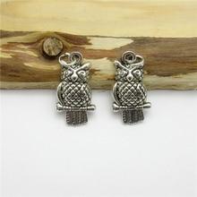 55PCS (20*12mm ) Antique Silver Owl Charms pendant fit European bracelet made diy Pendants for jewelry making