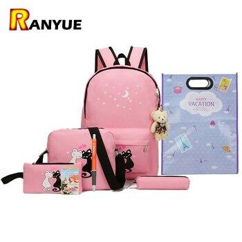 8Pcs Cute Animal Star Printing Backpack Women Canvas Backpack School Bags For Teenagers Girls School Backpack Set Women Bookbags