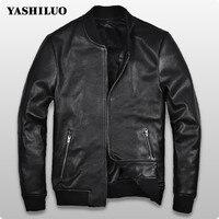 Корейский стиль весна мода мужская овчины Кожаные куртки пальто на молнии для мужчин jaqueta couro masculina motoqueiro