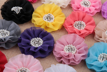 """120pcs/lot 4"""" 15colors Big Chiffon Flower+Rhinestone Pearl Button For Hair Accessories Artificial Fabric Flowers For Headbands"""
