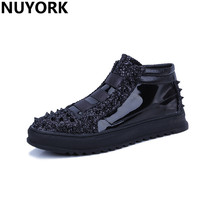 NUYORK Hot Sale Chaussure Homme Sneakers Autumn And Winter Men S Drilling Rivets Bright High Board