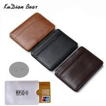 KUDIAN BEAR Slim Leather Men Wallet Magic Brand Designer Card Holder Korean Bilfold Clamps for Money BID224 PM49