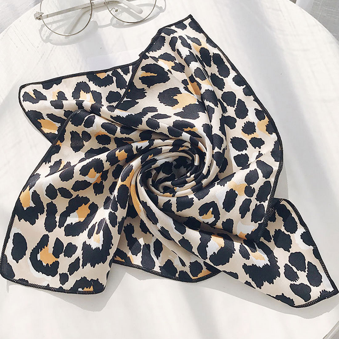 Women Elegant Silk Feeling Square Scarf Hair Tie Band Spring Summer Fashion Vintage Cute Floral Dot Head Neck Neckerchief New in Women 39 s Scarves from Apparel Accessories