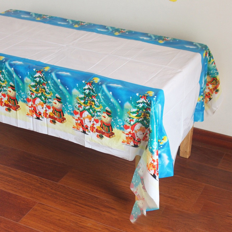 New Year Disposable Christmas Tablecloth Waterproof Plastic Merry Christmas Decoration Santa Claus Ornaments  Table Decorations