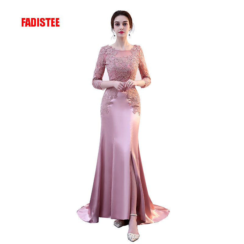 FADISTEE New arrival sexy party   evening     dresses   Vestido de Festa mermaid prom   dress   lace-up Robe De Soiree lace half lace sleeve