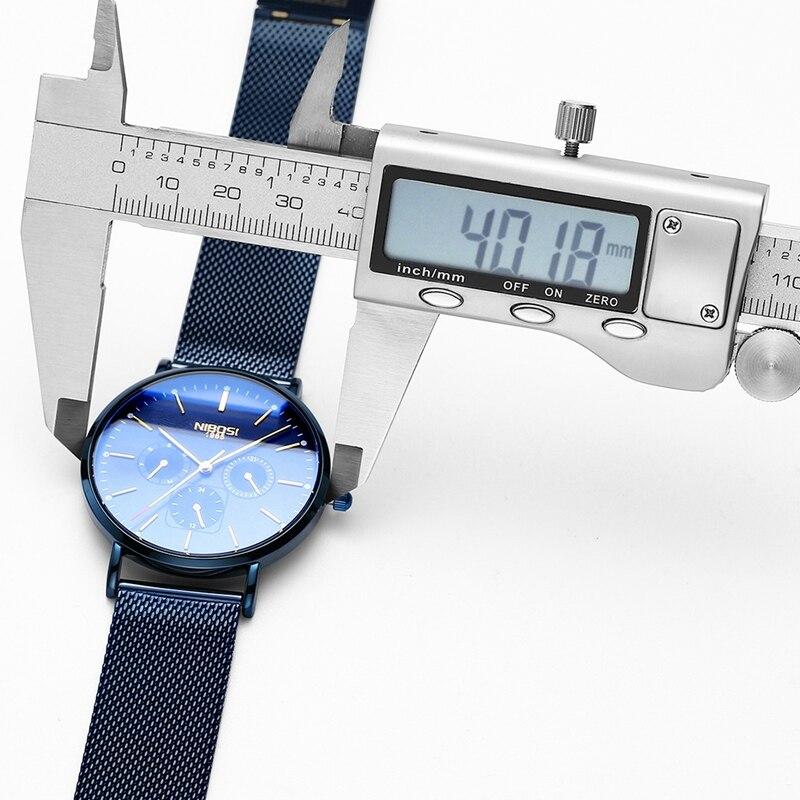 b800b35ad NIBOSI Ultra delgado relojes para hombre de marca de lujo de la mejor azul  reloj de los hombres Simple deportes reloj de cuarzo hombre Acero  inoxidable ...
