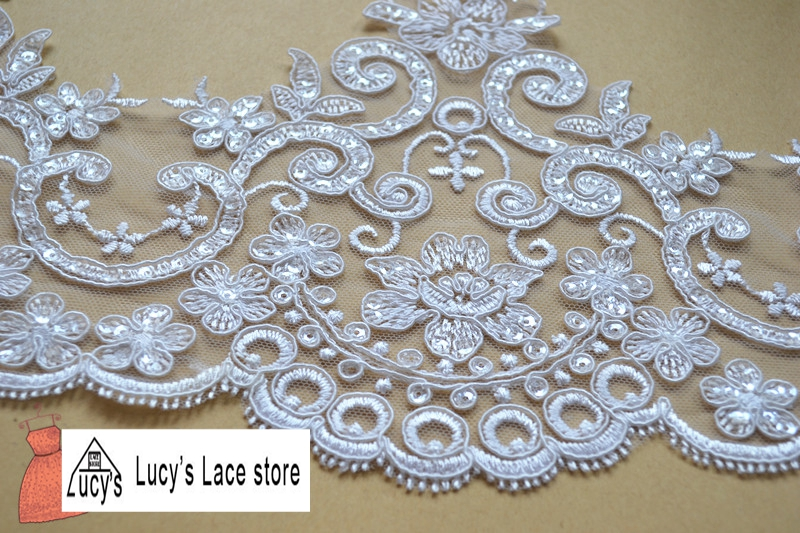18CM 5 yards/lot elegant wedding veils lace trim with glitter Light ivory/Off white color in stock