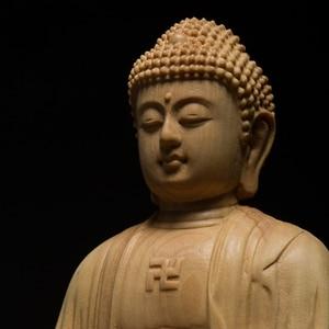 Image 2 - 9.5/13Cm Hout Bouddha Standbeeld Houten Carving Boeddha Buda Estatua Shakyamuni Craft Bodhisattva Sculptuur Voor Home Decor