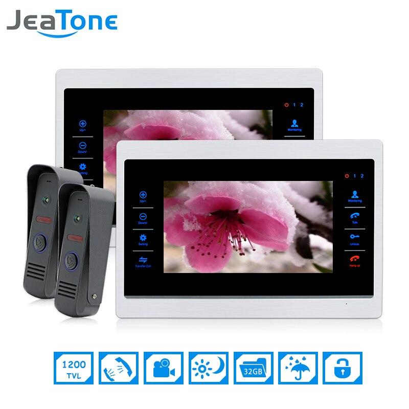 Color Video Door Phone Intercom JeaTone 7 Inch 2 To 2 Door Bell Door Speaker Hands
