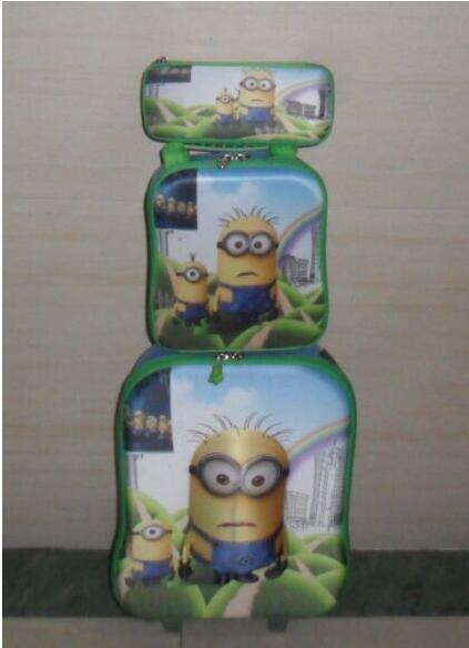 ФОТО Free shipping  3D cartoon travel bag travel suitcase wheel  luggage sets , Minions EVA  Trolley Bags +Lunch Box +pencil Case