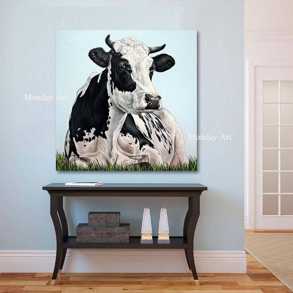 Toile peinture grande taille peint à la main moderne Animal peinture à l'huile la vache toile Art mur photos pour salon décoration de la maison