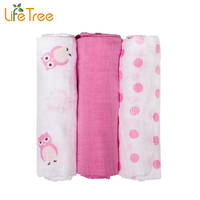 3Pcs Set 70x70cm Muslin Cloth Cotton Newborn Baby Swaddles Baby Blankets Gauze Bath Towel Cute Animal Hold Wraps Burp Cloth