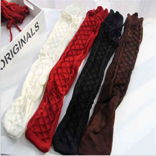 สตรีสุภาพสตรีสายถักเข่าเข่ารองเท้าบู๊ตยาวฤดูหนาว Warm ต้นขาสูงนุ่มหนา Leggings สีดำสีขาว