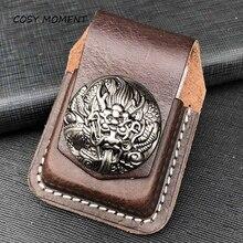 COSY MOMENT Leather Handmade Cigarette Lighter Holder Bag For Zippo High Quality Oil Lighter Case Fo