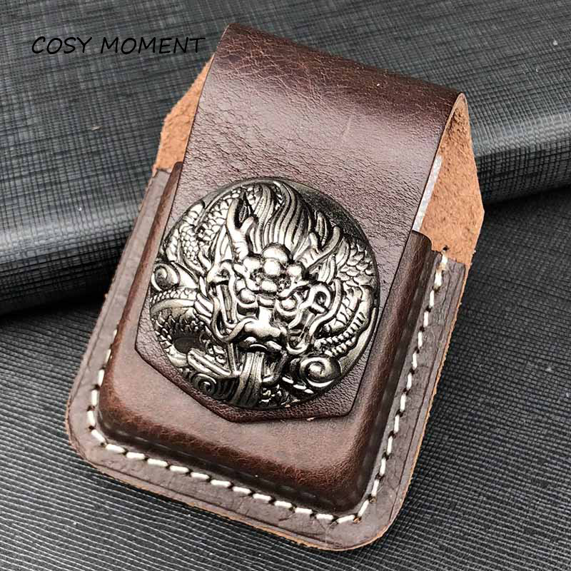 COSY MOMENT Leather Handmade Cigarette <font><b>Lighter</b></font> Holder <font><b>Bag</b></font> For <font><b>Zippo</b></font> High Quality Oil <font><b>Lighter</b></font> Case For Men Gift YJ368 image
