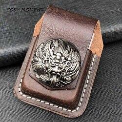 Momento acolhedor couro artesanal cigarro mais leve titular saco para zippo alta qualidade óleo mais leve caso para homem presente yj368