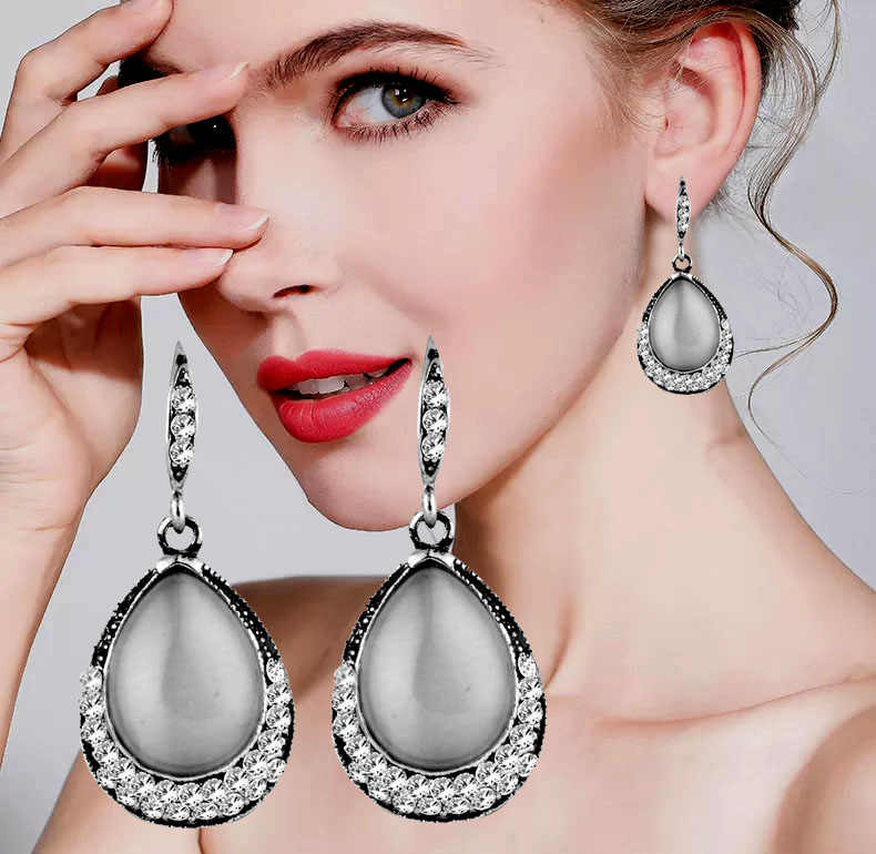 SINLEERY Vintage Water Drop White Pink Black Opal Stone Dangle Earrings for Women Antique Silver Color Jewelry Accessories ES527