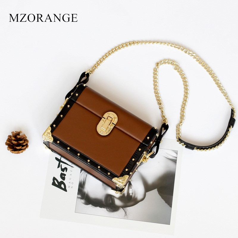 MZORANGE NEW Genuine Leather fashion box shape Chain women's bag small Tote Vintage Rivet Ladies handbag shoulder crossbody bags 2018 new style genuine leather woman handbag vintage metal ring cloe shoulder bag ladies casual tote fashion chain crossbody bag