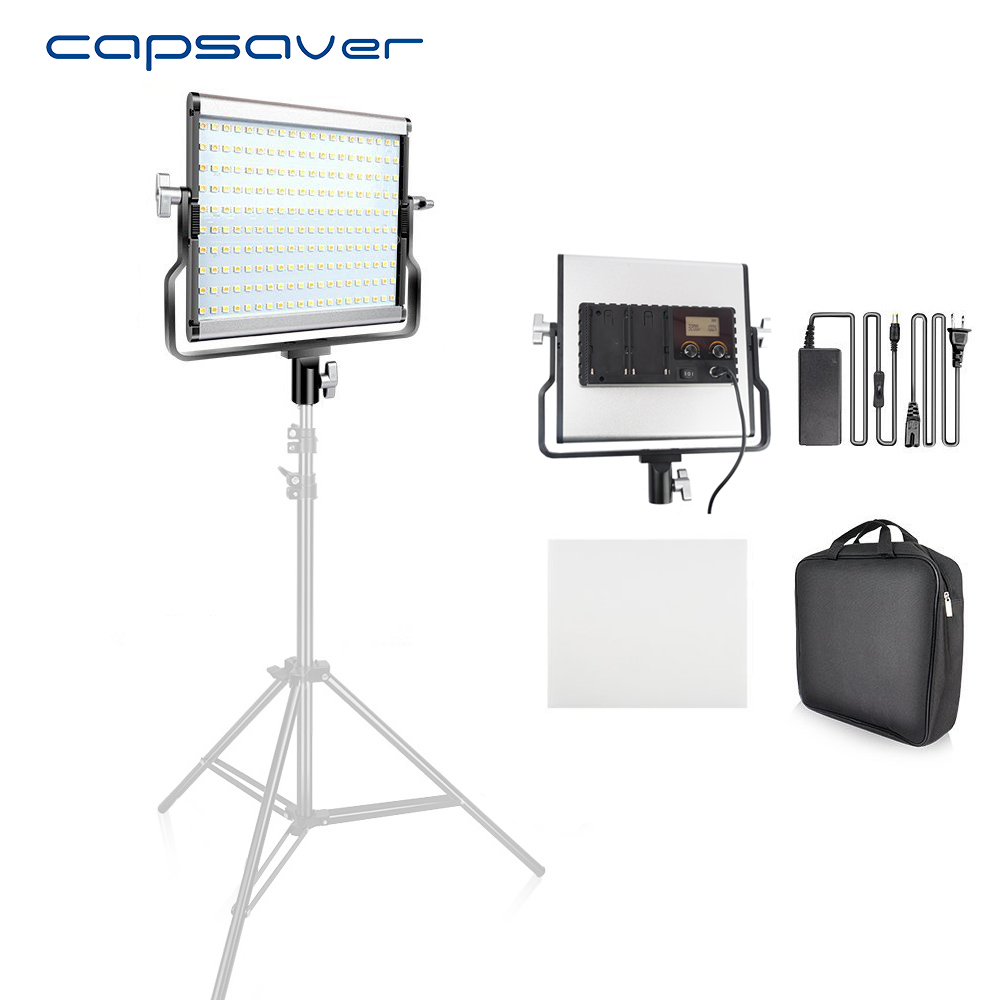 capsaver L4500 Portable Photography Lighting LED Video Light Metal Panel Lamp Bi-color 3200K-5600K Studio Photo Camera Shooting gvm 520s b led video light with battery cri97 3200k 5600k for video making photography lighting and location shooting panel
