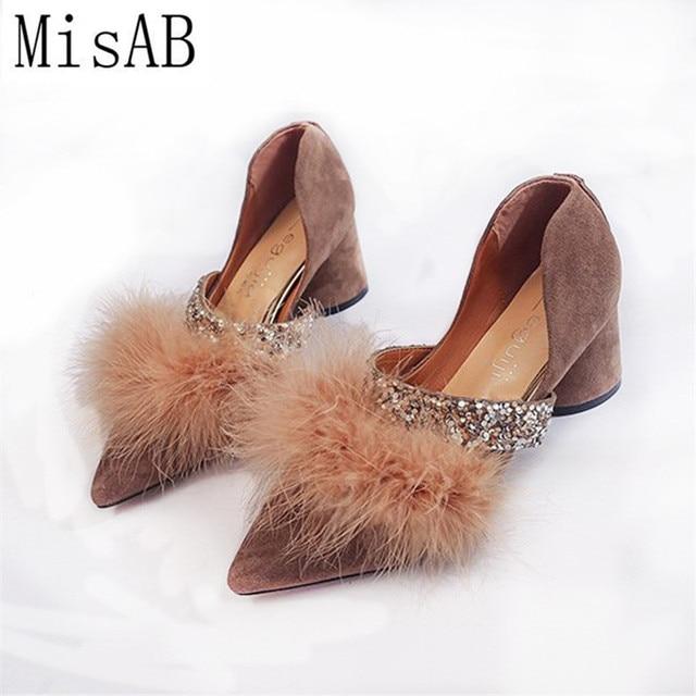 Women Pumps Faux Fur Square Heels Loafers Woman shoes Spring Autumn Fur Slip  on Pumps Shoes Pointed Toe Flock Boat Pumps Sandals 1593b28cc7