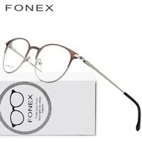 FONEX Alloy Glasses Frame Men Ultralight Women Vintage Round Prescription Eyeglasses Retro Optical Screwless Eyewear 7056