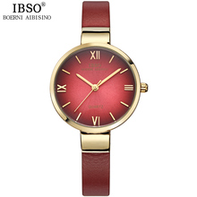 IBSO Top Brand Fashion Red Watch Women Genuine Leather Band Women Watches 2017 Analog Quartz Wristwatch Waterproof Montre Femme