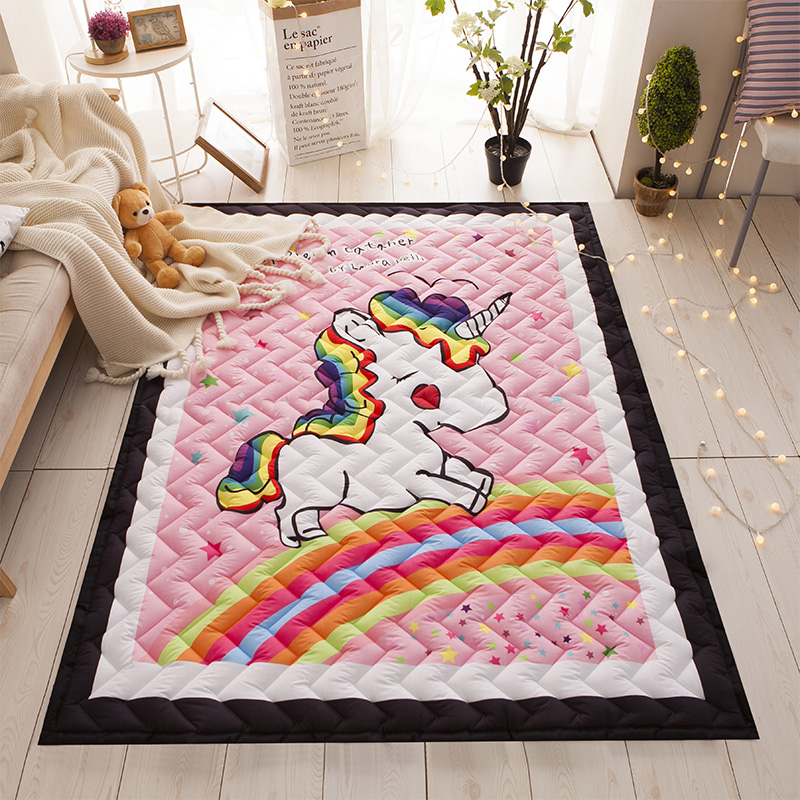 Unicorn Rug Quilted Area Rug Thick Mat Tatami Mat Kids