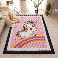 Unicorn Rug Quilted Area Rug Thick Mat Tatami Mat Kids Room Play Crawling Carpet Rectangle Rugs and Carpets for Home Living Room