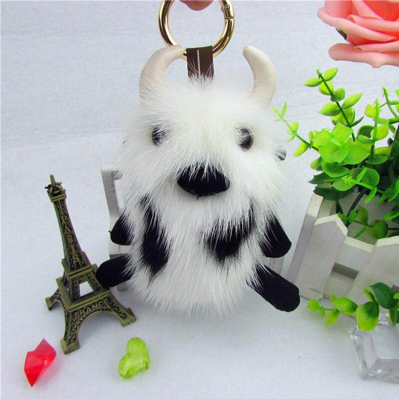 Норковый Крупный рогатый скот брелок аксессуары роскошное модное кольцо сумка Подвеска Шарм подарок яркий цвет норковый брелок - 3