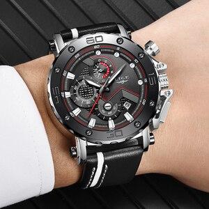 Image 5 - 2020 Casual Men Watch LIGE Top Brand Watch Men Quartz Clock Male Military Sports Leather Waterproof Wristwatch Relogio Masculino