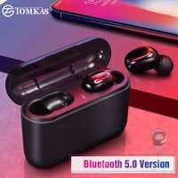 TOMKAS Drahtlose Kopfhörer 5,0 Stereo Ohrhörer Bluetooth Kopfhörer Kopfhörer TWS Wireless Bluetooth Headset mit Lade Box