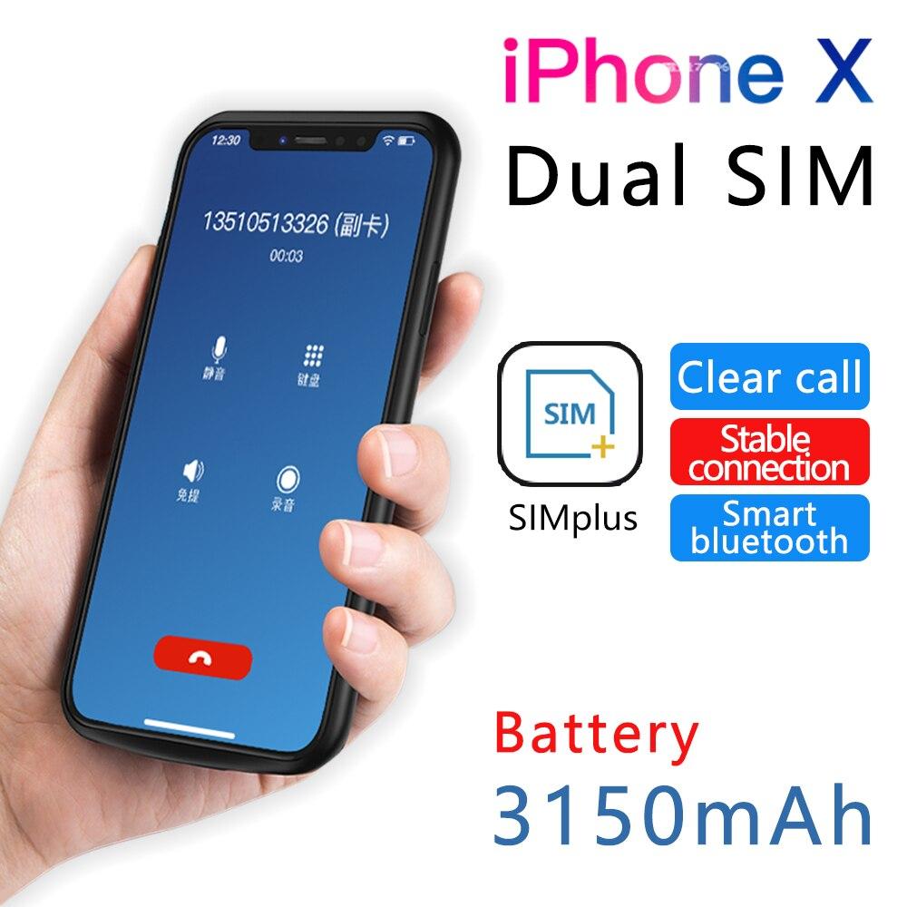 2018 pour iPhone X/XS Ultra-Mince cadre En Caoutchouc Double SIM Double Veille Bluetooth Adaptateur Longue Veille 7 jours avec 3150 mah Banque De Puissance
