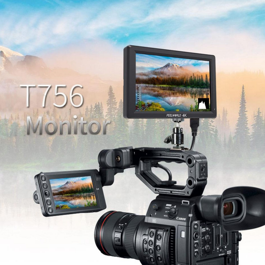 Feelworld ST-T756 4K camera External display HDMI HD monitor video TFT field 7 inch DSLR lcd vs BESTVIEW S7 shootout 1920*1200 new aputure vs 5 7 inch 1920 1200 hd sdi hdmi pro camera field monitor with rgb waveform vectorscope histogram zebra false color