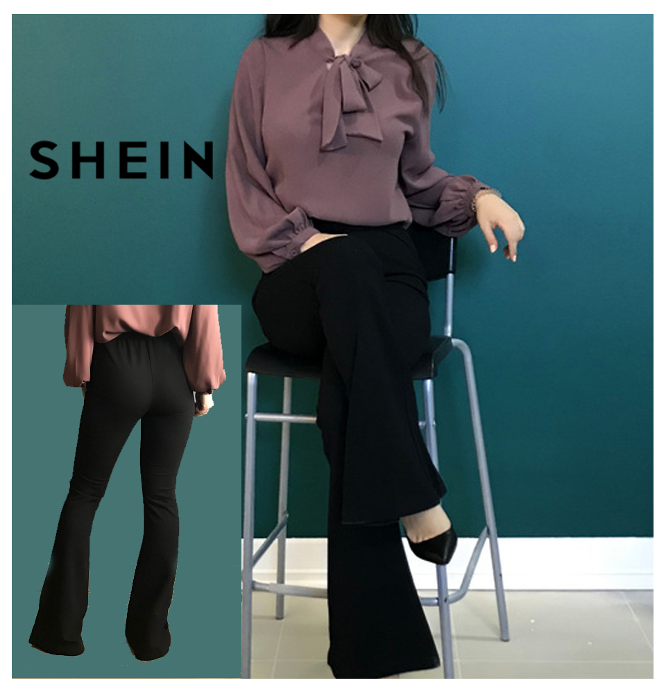 SHEIN Black Elegant Office Lady Elastic Waist Flare Hem Pants Casual Solid Minimalist Pants 19 Spring Women Pants Trousers 6