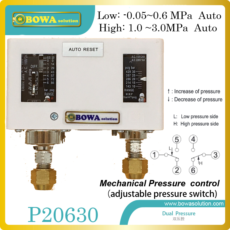 Autoreset dual pressure controls is used to protect compressors in heat pump water heater, clothes dryers and air chambers dual hvacr adjustable pressure controls espcailly installed in r410a refrigeration system and heat pump equipments
